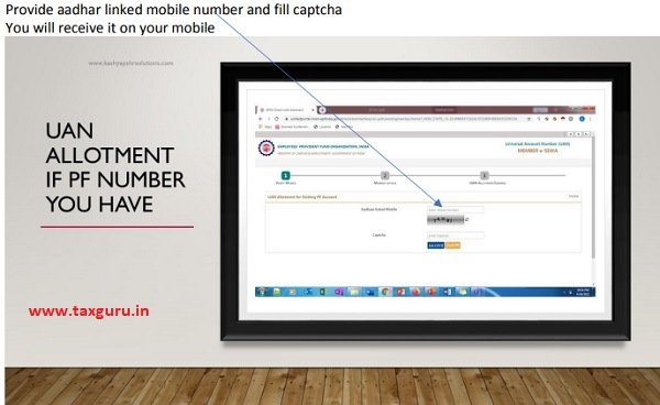 Provide aadhar linked mobile number and fill captcha