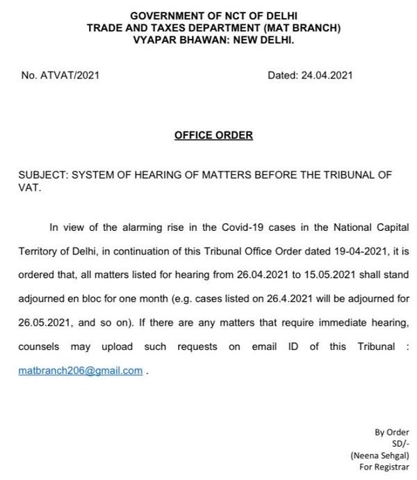 System of Hearing of Matters Before Delhi VAT Tribunal