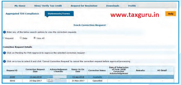 Track Correction Request