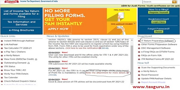 taxpayer can download the utility and the manual from the e-filing site