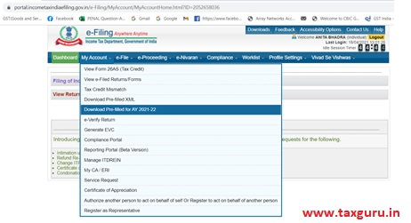 taxpayers can download the pre-filled data from the income tax e-filing portal and fill in the rest of the data
