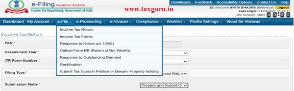 Click on the e-file menu and click Income Tax Return Link