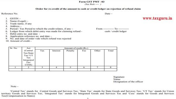 Form GST PMT - 03