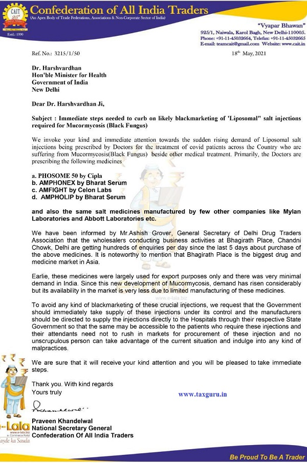 Letter by CAIt requesting to Take control of Drug used for treatment of Black Fungus