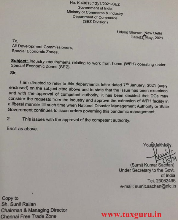 Notification for SEZ