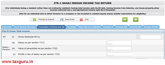 Sahaj Indian Income Tax Return-2