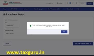 A message will display Link Aadhaar status