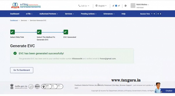 A success message will be displayed, and you will receive the EVC on your mobile number and email ID verified by NSDL CSDL