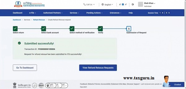 After successful e-Verification, a success message along with a Transaction ID will be displayed