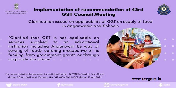 Applicability of GST on supply of food catering in an educational institution including Anganwadi
