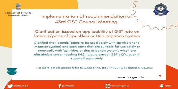 Applicability of GST rate on laterals parts of Sprinklers or Drip irrigation system