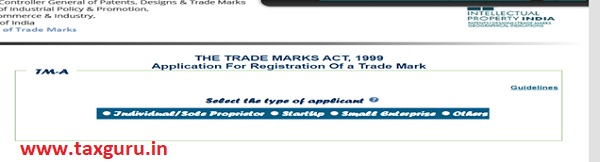 Application for registration of a trade mark Step 1