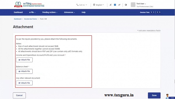 Attachments page allows attaching documents and files as per the inputs provided by the CA.