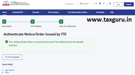 Authenticate the Notice issued by ITD User Manual 11