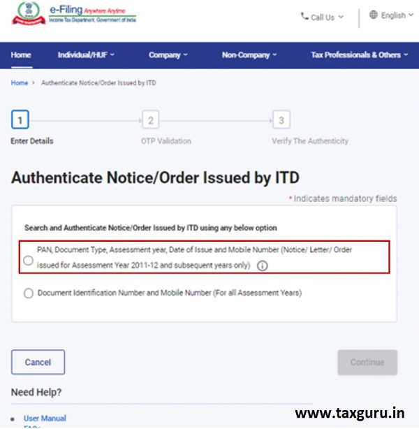 Authenticate the Notice issued by ITD User Manual 3