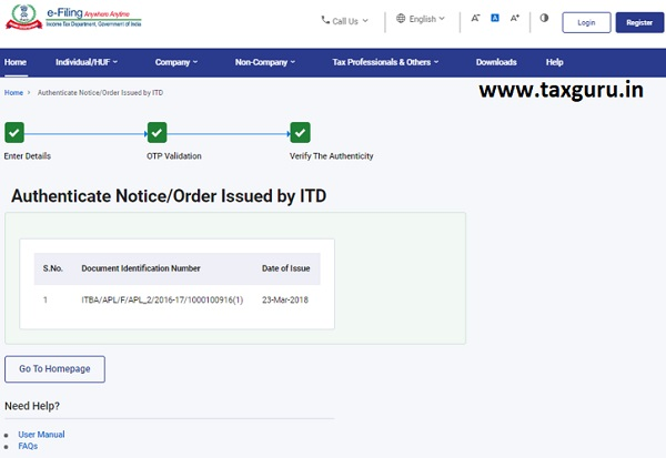 Authenticate the Notice issued by ITD User Manual 6