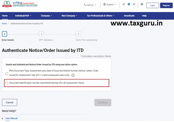 Authenticate the Notice issued by ITD User Manual 8