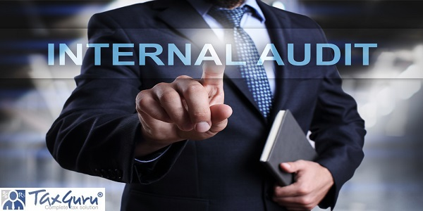 Businessman pressing button on touch screen interface and select Internal audit