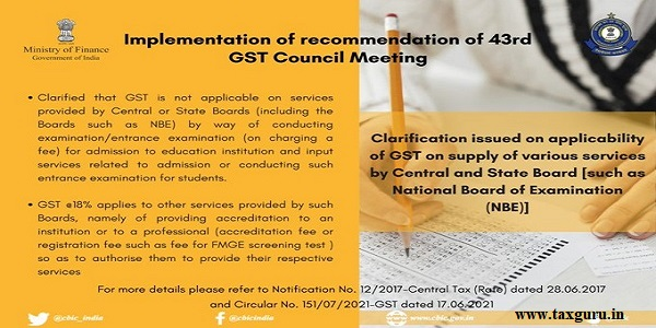 Clarification issued on applicability of GST on supply of various services by Central and State Boards (such as National Board of Examination)