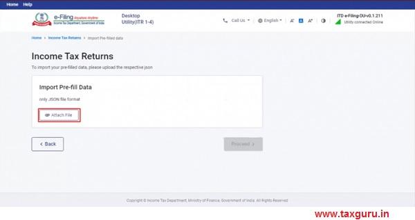 Click Attach file, select the pre-filled data