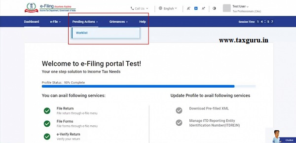 Click Pending Actions Worklist to view all the forms assigned to you by taxpayers