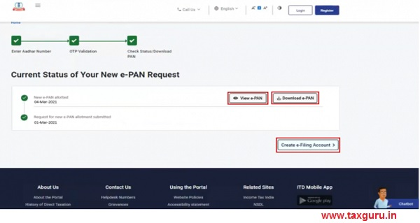 Current status of your e-PAN request