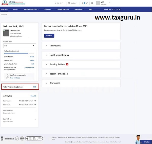 Dashboard and Worklist (Taxpayer) User Manual 10