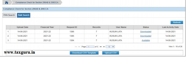Figure 19 List of Uploaded Files for Compliance Check