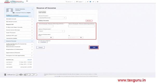 If you select Salaried -Pensioner, enter details