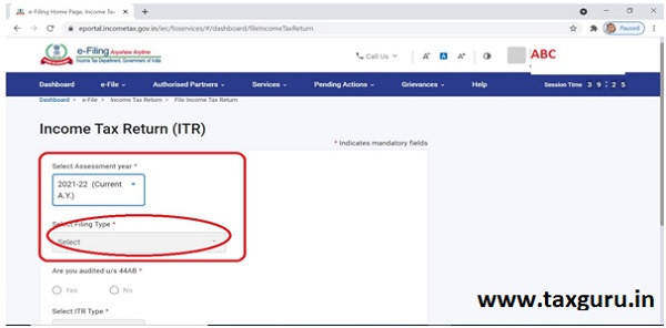 Inactive e-Filing Tab for Filing ITRs for AY 2021-22 2