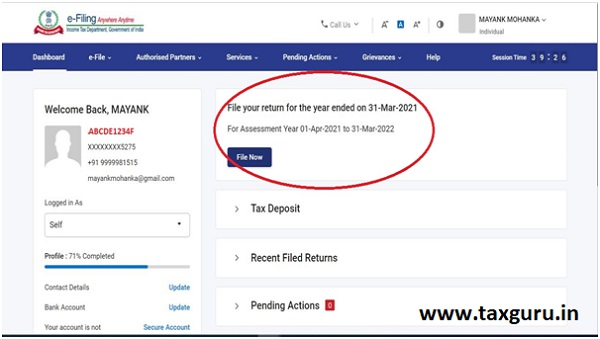 Inactive e-Filing Tab for Filing ITRs for AY 2021-22