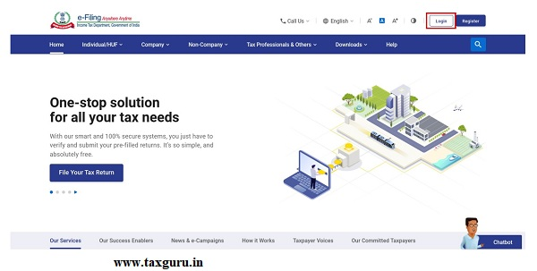 Log in to the e-Filing portal with valid CA credentials