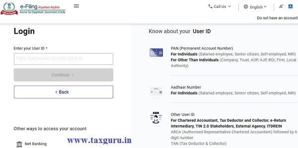 Login on New Income Tax Portal