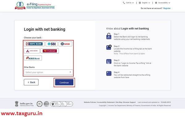 Login with Net Banking