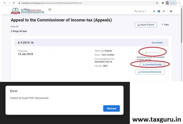 Non-Availability of Previous Years ITR Forms, ITR Acknowledgements and All Other Online Forms 2