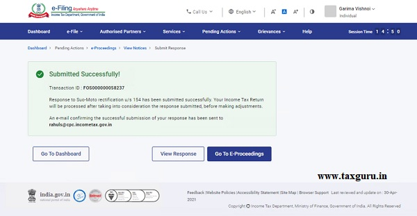 On successful e-Verification, a success message is displayed along with a Transaction
