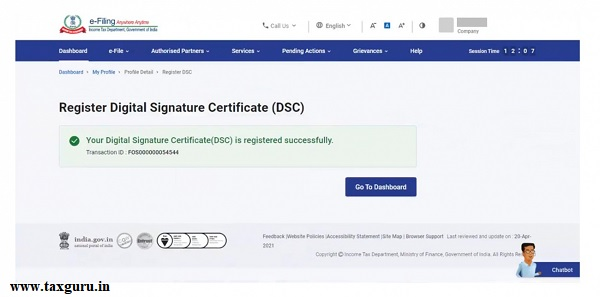 On successful validation, a success message will be displayed with the option to go to the Dashboard