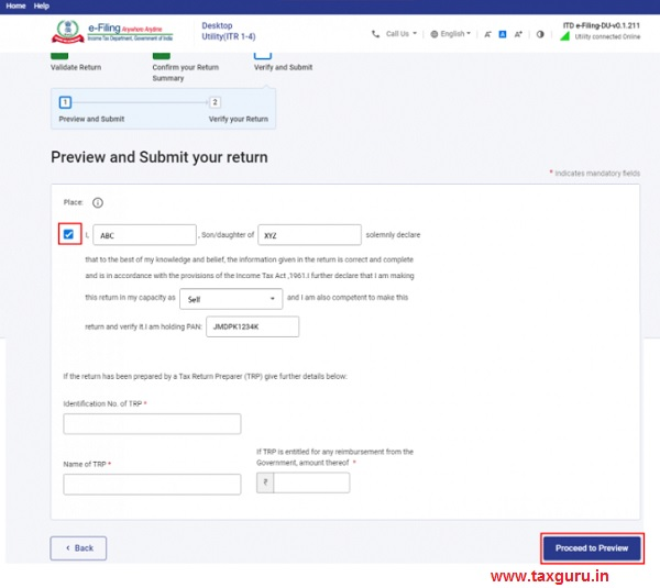 Preview and Submit your return page