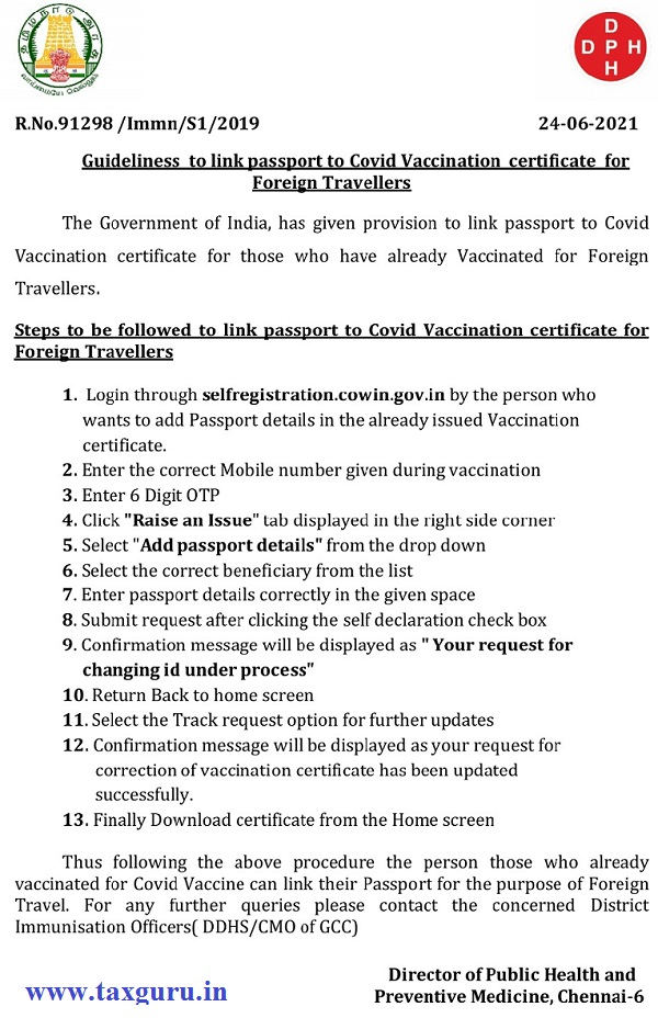 Procedure to link passport with Covid vaccination certificate