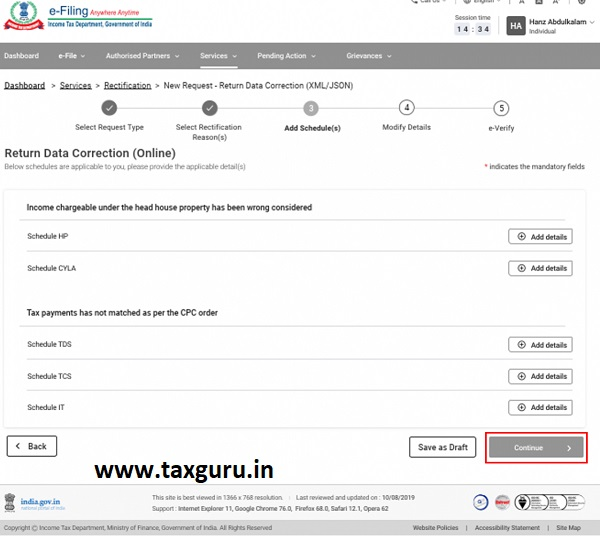 Raise Rectification Request User Manual 30