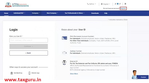 Register for e-Filing (Tax Deductor and Collector) Image 1