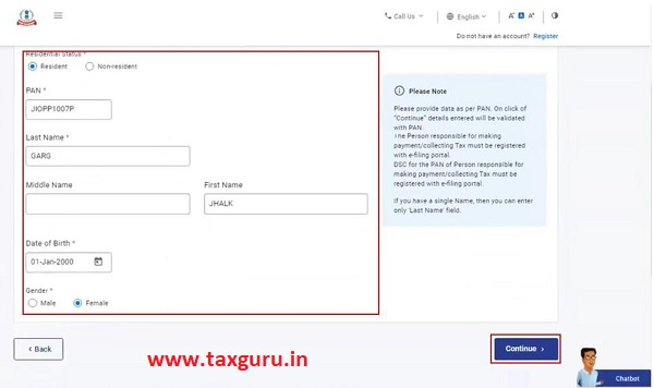 Register for e-Filing (Tax Deductor and Collector) Image 5