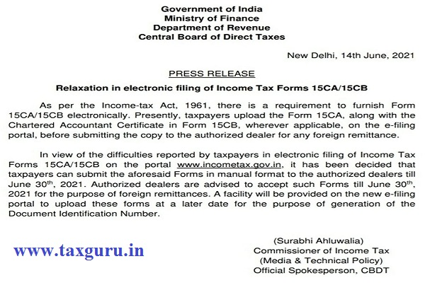 Relaxation in electronic filing of Income Tax Forms 15CA and 15CB