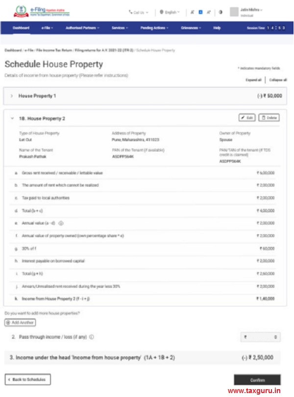 Schedule House Property