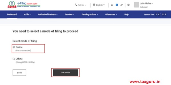 Select Mode of Filing as Online and click Proceed