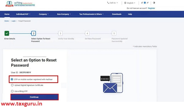 Select an Option to Reset Password