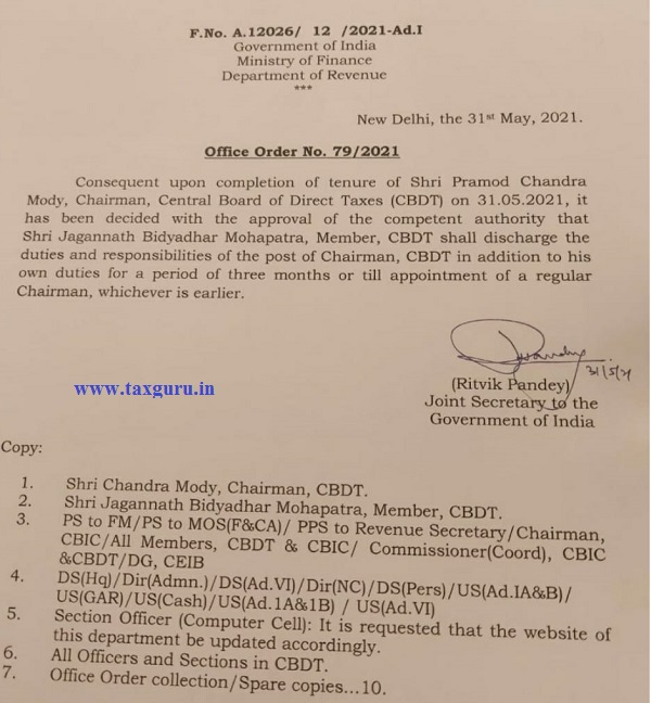 Shri J. B. Mohapatra appointed as Chairman CBDT