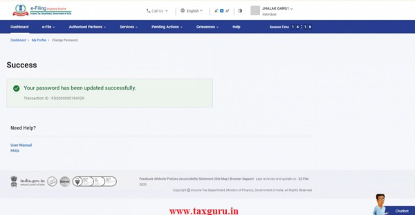 Step 1 Following success message along with Transaction ID is displayed