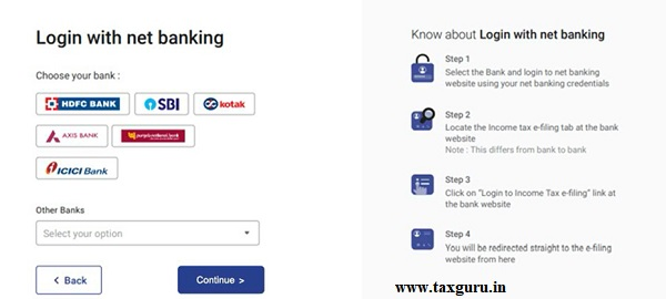 Step 1 Log in to the e-Filing portal using your Net Banking account