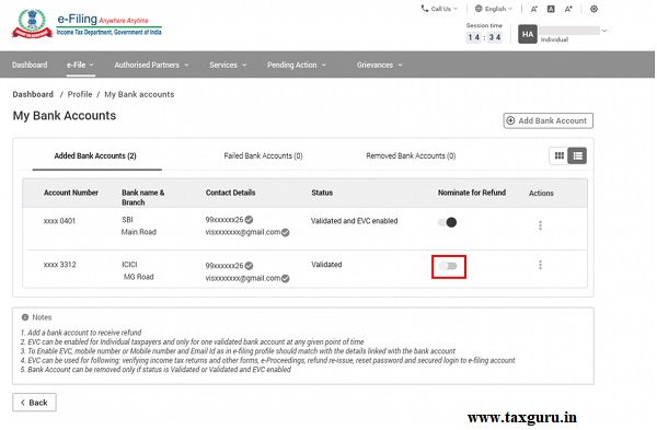 Step 1 To nominate a bank account for refund, click the Nominate for Refund toggle